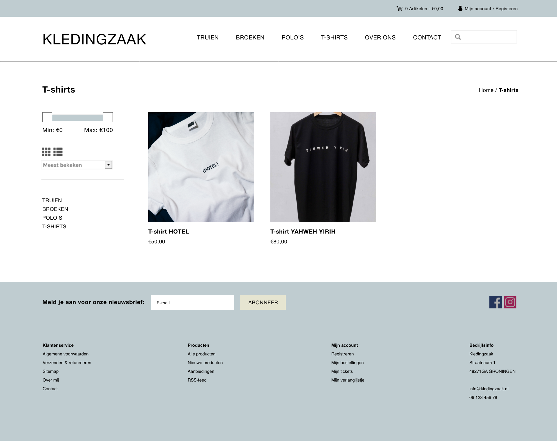 Lightspeed thema Kleding categorie pagina
